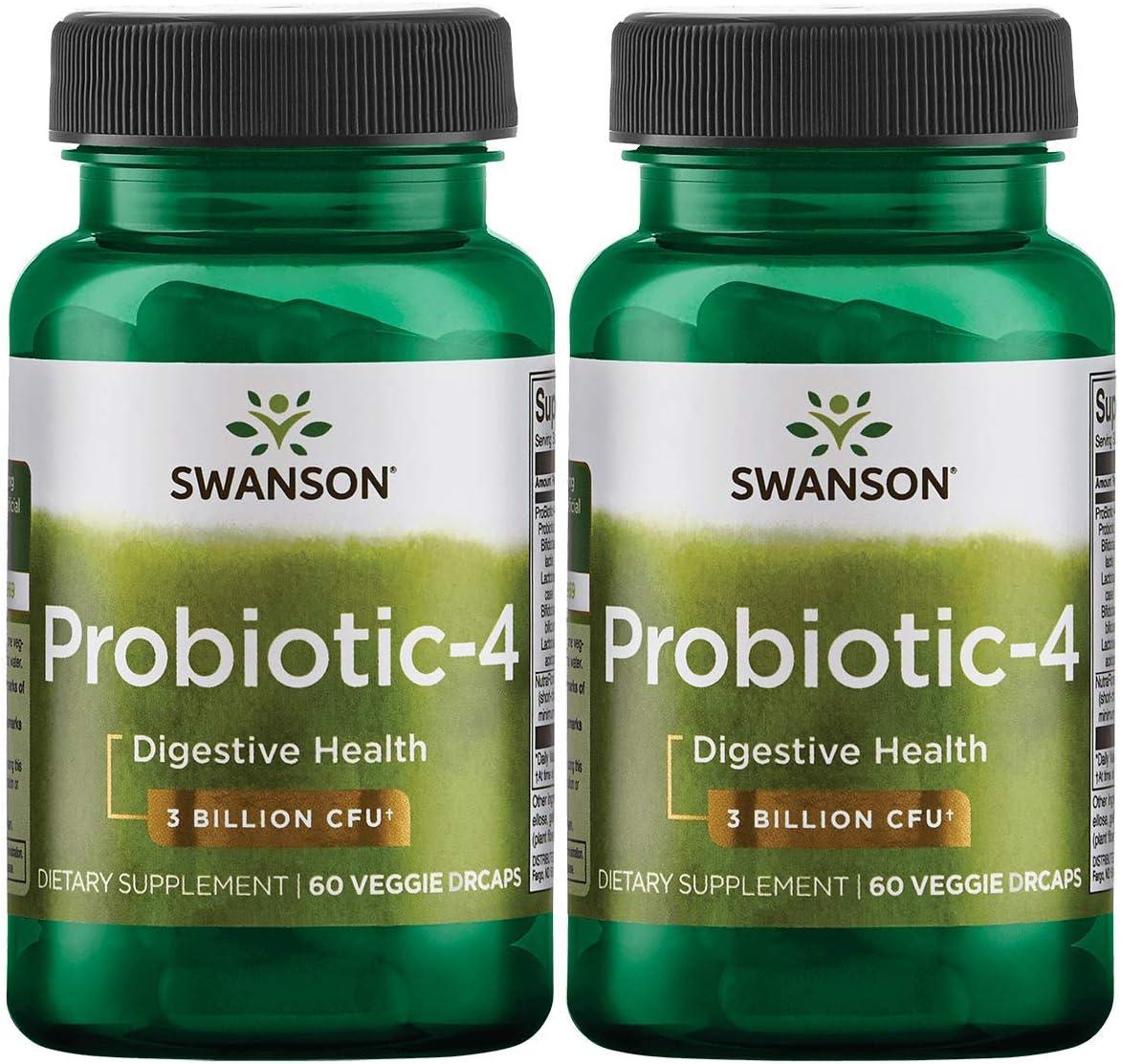 Swanson Probiotic-4 3 Billion Cfu Veg Pack 2021 model Cheap mail order shopping 60 2 Drcaps