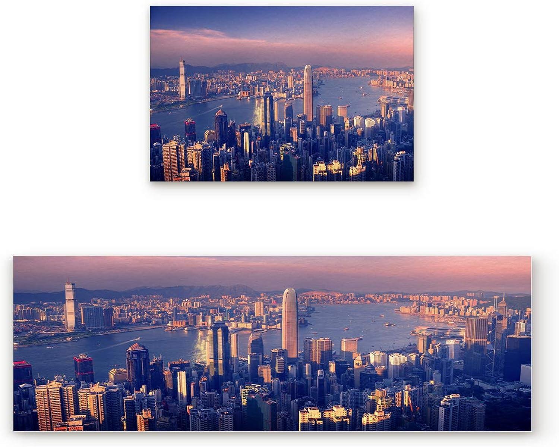 SODIKA Non Slip Kitchen Rug Set 2 Piece, Floor Mat Carpet Runner,Hong Kong City Port Landscape (23.6x35.4in+23.6x70.9 inches)