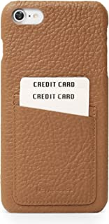 Beyza Cases Feder Multi Slot Thin Credit Card Pocket Leather Two Tone Color Snap on Shell for iPhone 8/7 - Tan
