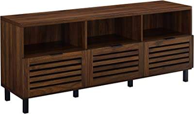 """Walker Edison Modern Wood Stand with Slat TV's up to 65"""" Flat Screen Living Room Storage Cabinet Doors and Shelves Entertainment Center, 58 Inch, Dark Walnut"""