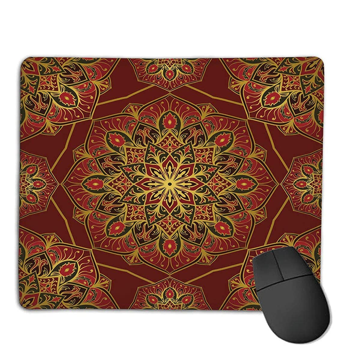 Computer Mouse Cushion and Natural Rubber Back and Cloth Surface,Maroon,Rich Colorful Ornament Symbol of Cosmos in Arabic Style Medieval Artistic Decorative,Maroon Yellow Black,Applies to Games,Home
