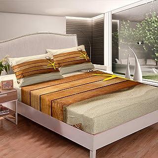 Manfei Beach Sheet Set Yellow Starfish and Board Decor Fitted Sheet Sandy Beach Bedding Set 2pcs for Kids Boys Girls Soft ...