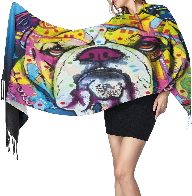 Cashmere fringed scarf English Bulldog Pattern winter extra large scarf