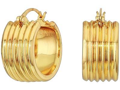 SOLE / SOCIETY Metal Huggie Earrings (12K Soft Polish Gold) Earring