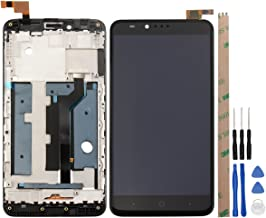 for ZTE Zmax Pro Z981 LCD Touch Screen Digitizer Assembly Broken Screen Replacement Parts with Small Kits - Black (Z981 with Frame)