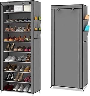 MTL 9 Tiers Shoe Rack, Shoe Cabinet Organizer (Grey)