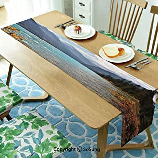 Landscape Table runner for Farmhouse Dining Coffee Table Decorative,Lake Louise Banff National Park Canada Mountains Autumn Plants 14