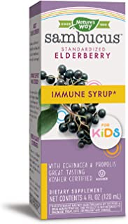Nature's Way Sambucus Elderberry Immune Syrup for Kids, Herbal Supplements, Gluten Free, Vegetarian, 4 Ounce (Packaging Ma...