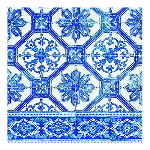 20 Stück Serviette 33x33 cm Blaue Fliesen zeitlos modern