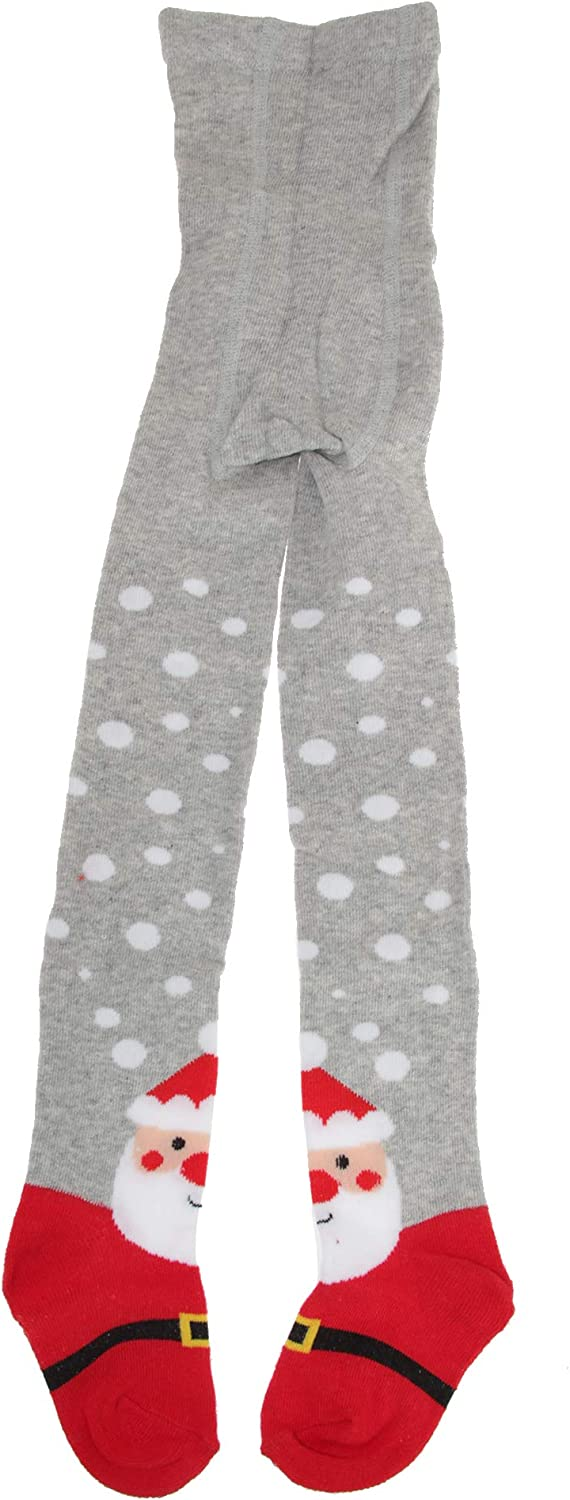 Childrens Girls Cotton Rich Festive Tights (1 Pair) (5/6 Years) (Gray)