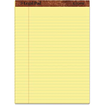 """TOPS The Legal Pad Writing Pads, 8-1/2"""" x 11-3/4"""", Canary Paper, Legal Rule, 50 Sheets, 12 Pack (7532)"""