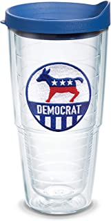 Tervis 1353796 Democrat Insulated Tumbler with Emblem and Blue Lid, 24oz, Clear