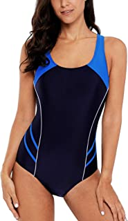 belamo Women's Sport One Piece Swimsuit Racerback Athletic Pro Swimwear