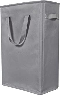 WOWLIVE 22 inches Slim Laundry Hamper Thin Laundry Basket Sturdy Foldable Nursery Hampers for Laundry Durable Dirty Clothes Hamper with Handles for Home Dorm 45L(Grey)