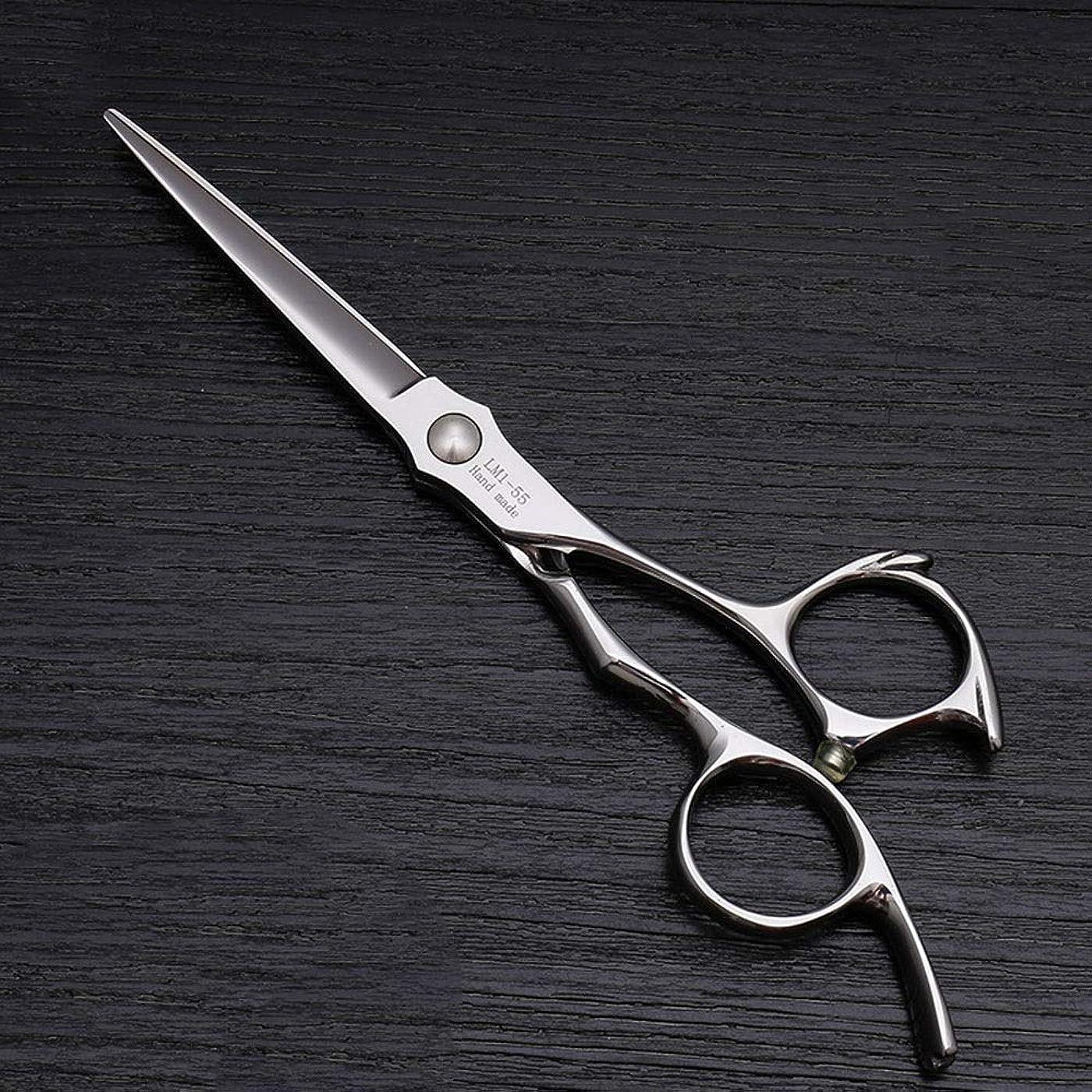 コントロール唯一騒々しい理髪用はさみ 5.5インチのヘアカットフラットはさみハイエンドの美容院特別なヘアカットの仕上げはさみヘアカットはさみステンレス理髪はさみ (色 : Silver)