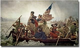 Washington Crossing Delaware River in 1776 by Emanuel Leutze, 30x47-Inch Canvas Wall Art