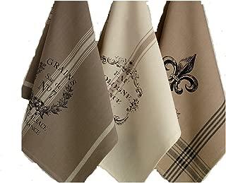 DII Design Imports Kitchen Towel Hanging Loop Set of 3 French Grain Sack Fleur De Lis Cologne Printed Dishtowels . 18 X 28