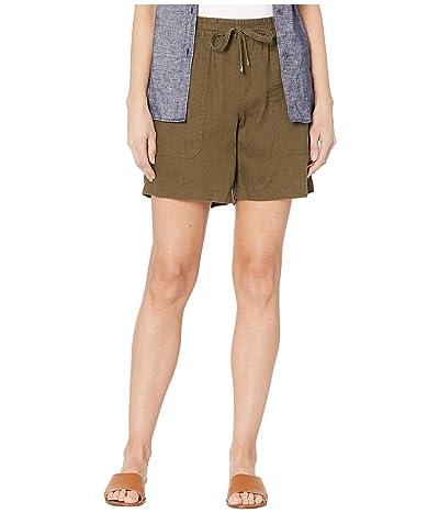 LAUREN Ralph Lauren Linen Drawcord Shorts (Dark Sage) Women