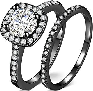 Jude Jewelers Silver Rose Gold 1.5 Carat Wedding Engagement Eternity Bridal Ring Set