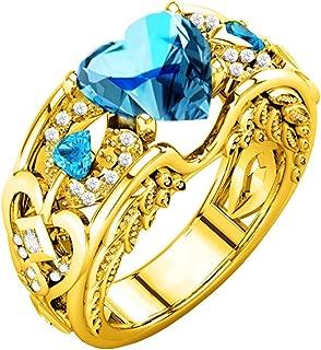 Schmuck Damen-Ring, Dragon868 Silber natürliche Rubin Edelsteine Birthstone Braut Hochzeit Engagement Herz Ring 10, Hellblau