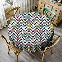 ScottDecor Good Vibes Wrinkle Free Tablecloths Black Zigzags with Colorful Cartoon Figures Cute Clouds Rainbow Ghost and Sweets Dinning Round Tablecloth Multicolor Diameter 36