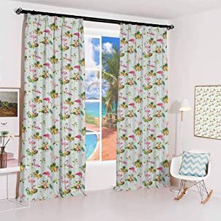 GUUVOR Flamingo Sunshade Sunscreen Curtain Flourishing Fresh Flowers with Pineapples and Dots Retro Style Birds Romantic S...