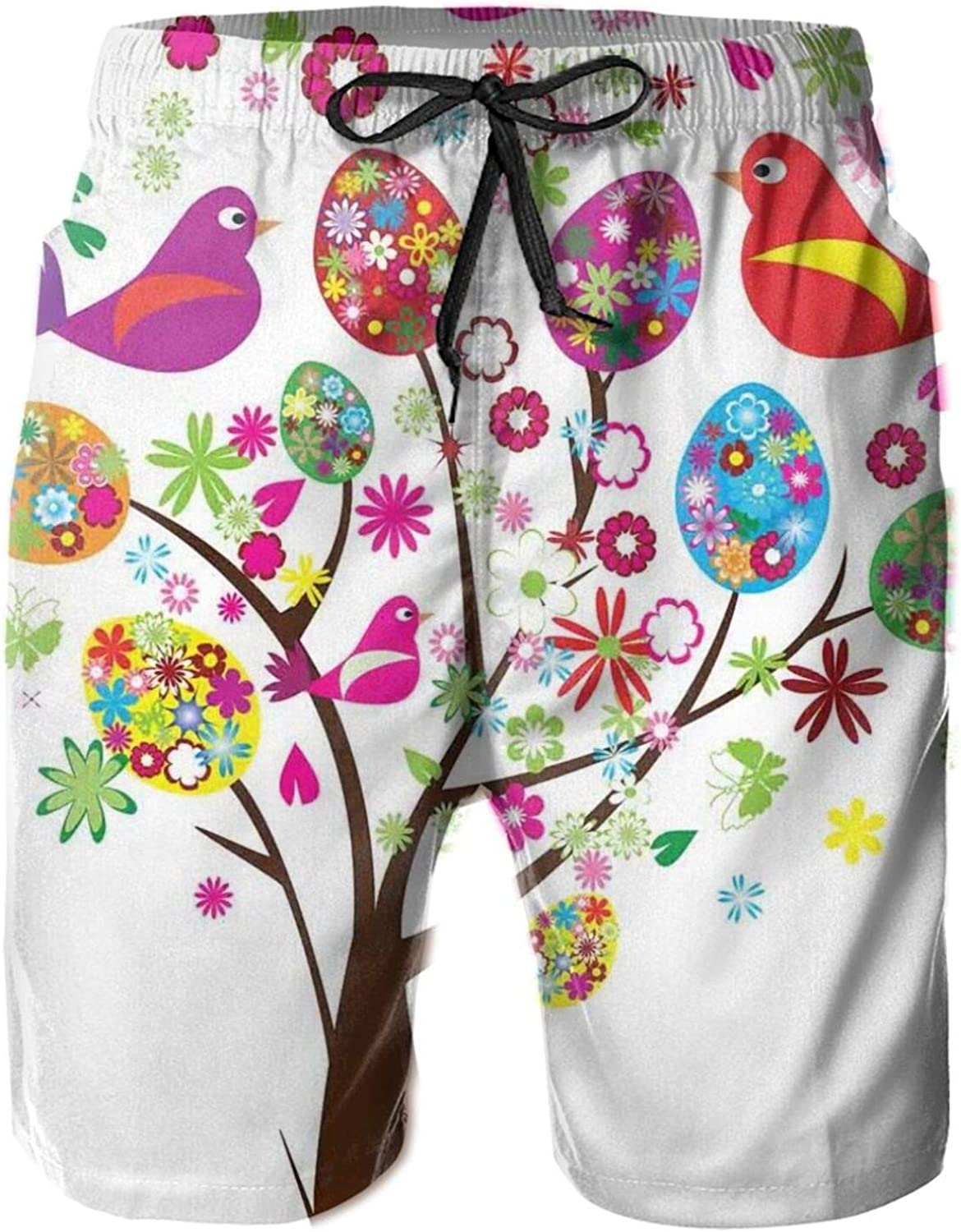 Ornate Easter Tree with Floral Eggs Love Birds Butterflies Joy Modern Artprint Home Swimming Trunks for Men Beach Shorts Casual Style,XL