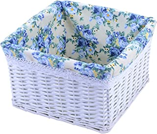 A Must-have Rectangular Hand-woven Rattan Basket At Home, With Removable Lining Storage Basket, Dirty Clothes, Snacks, Books, Cosmetics, Debris Storage Box (Color : White, Size : 31X31X19)