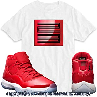 2a6c1667ef95 Custom T Shirt Matching AIR Jordan 11 Win Like 96 Matching TEE Bulls red JD-