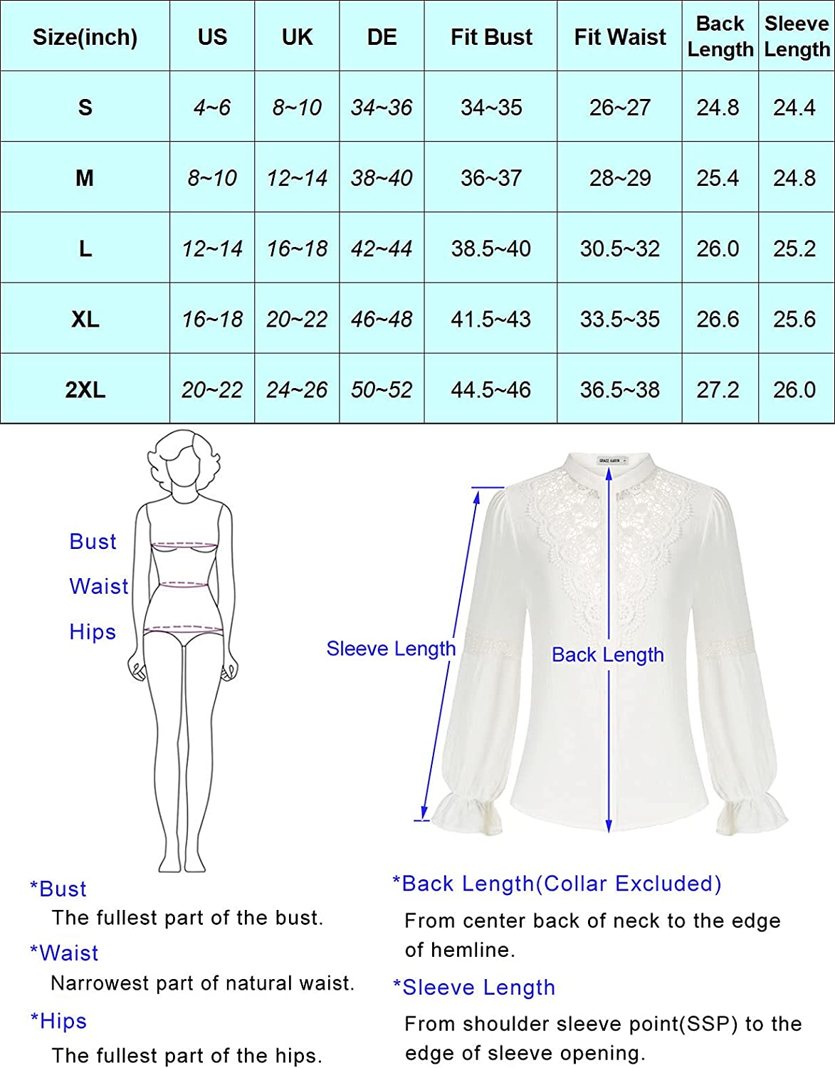 GRACE KARIN Women Retro Long Sleeve Lace Blouses Victorian Hollow Out Button Down Shirt Tees
