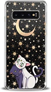 Cavka TPU Phone Case for Samsung Galaxy Note 10 Plus 5G S10 S10e S9 S8 S7 Black Soft Cat Kawaii Theme White Kitten Animal Clear Adorable Smooth Print Design Flexible Slim fit Lightweight Gift Cute