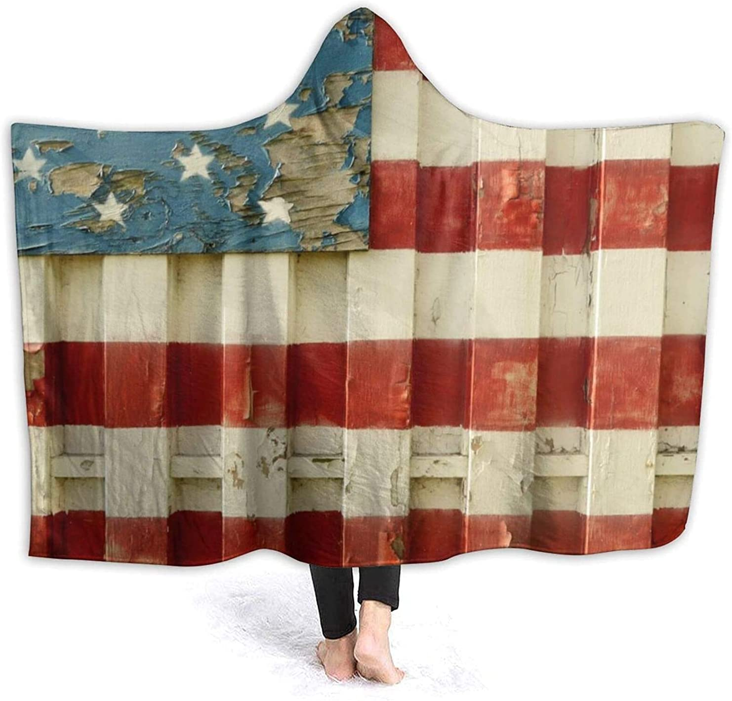 Throw Blanket Genuine Free Shipping fit Flag of Hooded Wearab Blanket-Flannel NEW American