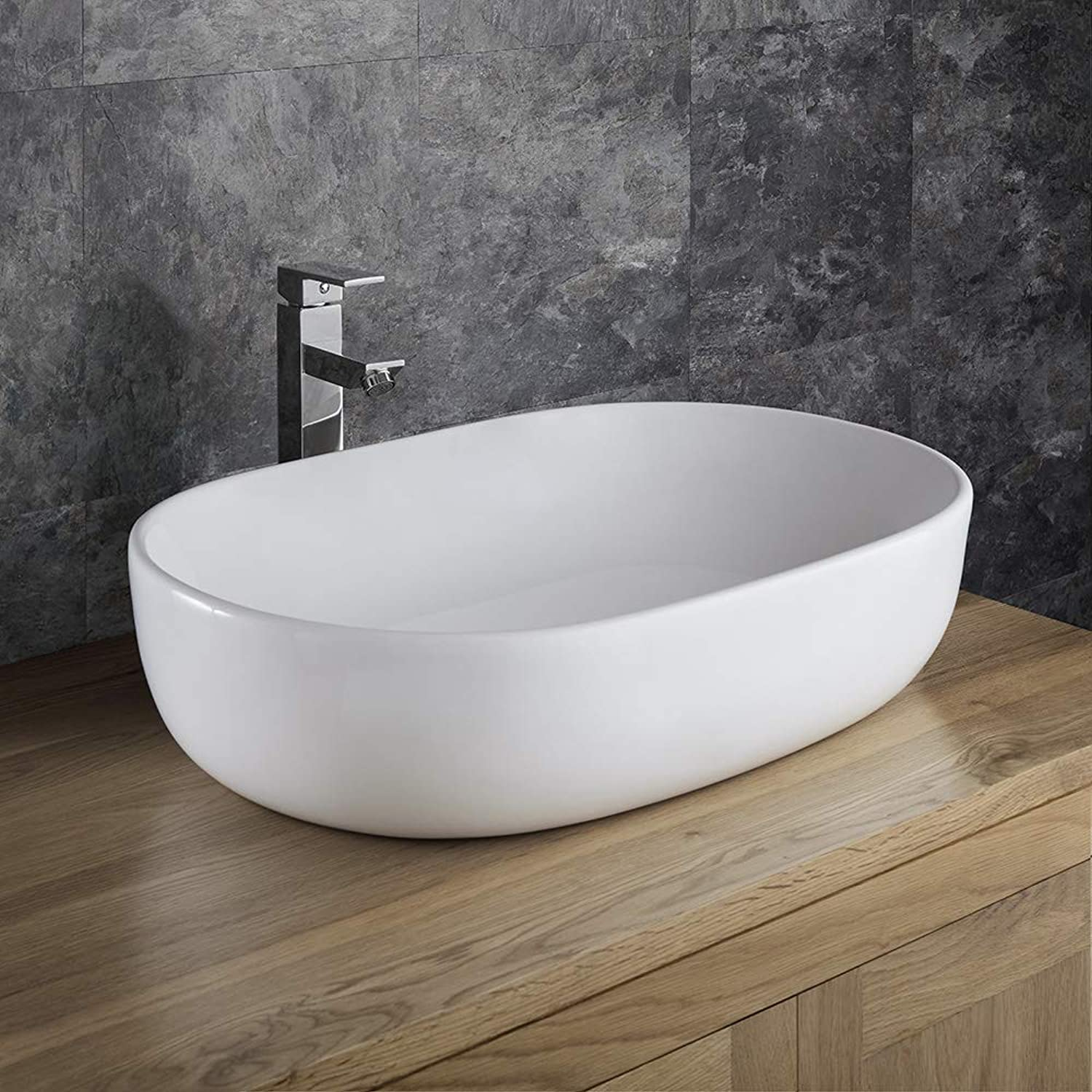 Clickbasin Counter Top Large White Oval Bathroom Sink 600mm x 425mm Alara