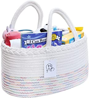 Baby Diaper Caddy Organizer, Portable Holder Bag for Changing Table and car, Pure Cotton Nursery Storage bin for Toy/Diaper, Newborn Shower Gift Basket for Boys & Girls (Multicolored)