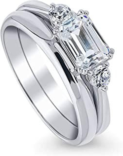 Rhodium Plated Sterling Silver 3-Stone East-West Engagement Wedding Ring Set Made with Swarovski Zirconia Emerald Cut 1.22 CTW