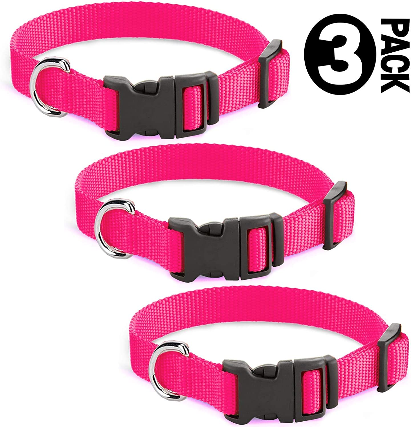 3 Pack Pink Collar for Medium Size Dogs (Upto 45 lb), Adjustable with Clip Buckle, Made of Nylon Fabric, Measures 1420 L x 3 4 W.