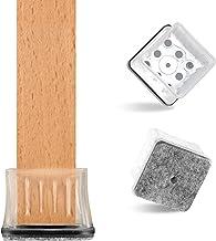 VABNEER Siliconen stoelpootdoppen hoekig, 16 stuks beschermkappen voor stoelpoten met viltkussens en metalen afdichting, v...