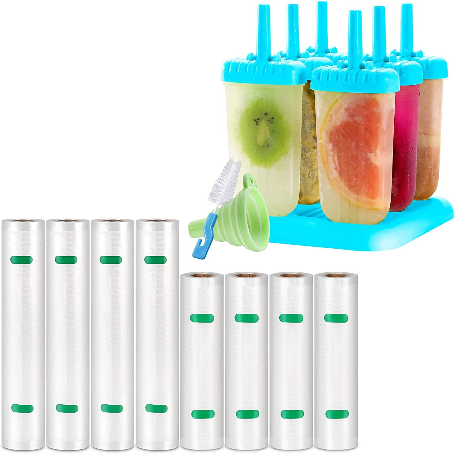Kootek 8 Oakland Mall Rolls Limited price sale Vacuum Sealer Bags Mo for Food Popsicle and Saver