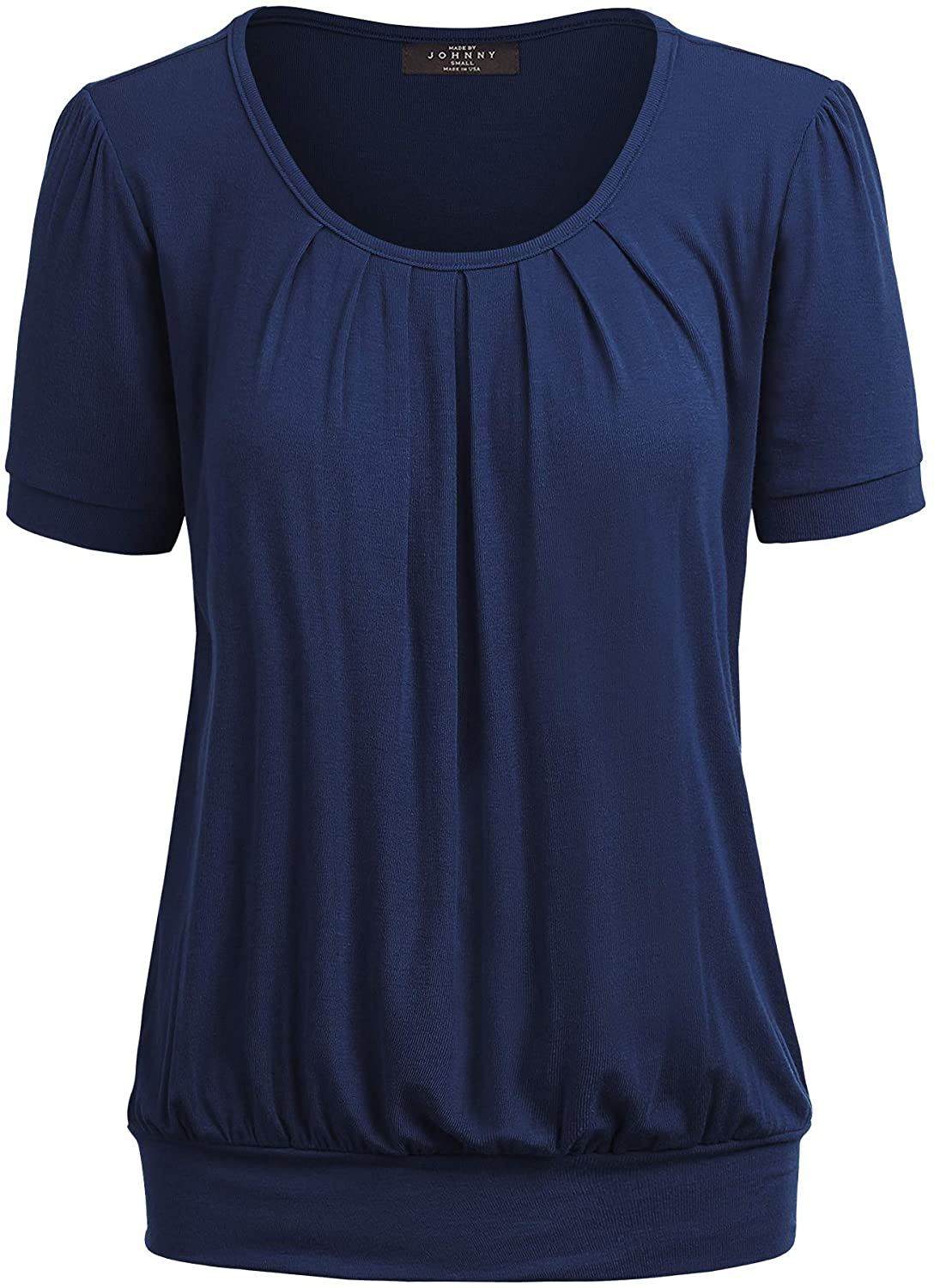 Made By Johnny Women's Scoop Neck Short Sleeve Front Pleated Blouse Tunic top S-3XL Plus Size Made in U.S.A.