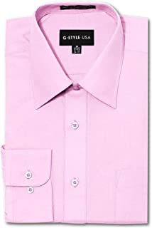 G-Style USA Men's Regular Fit Long Sleeve Solid Color Dress Shirts - Pink - X. - X-Large - 32-33