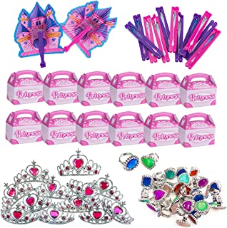 Funny Party Hats Princess Party Supplies - Party Favors - 72 Pc Set - Tiaras, Princess Fans, Treat Boxes & Princess Rings