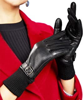 Womens Winter Leather Gloves Soft Warm Texting Touchscreen Cold Weather Driving Gloves