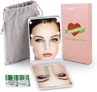 LED Lighted Travel Makeup Mirror, Handheld Illuminated Compact Mirror, Portable Folding Cosmetic Mirror with Light, Touch Dimmable, 1X & 2X Magnification, Upgraded Brightness, White,Gift