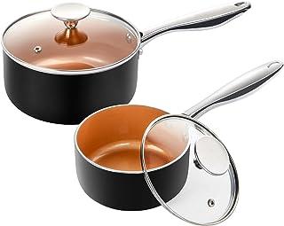 MICHELANGELO Saucepan Set with Lid, Nonstick 1Qt & 2Qt Copper Sauce Pan Set with Lid, Small Pot with Lid, Ceramic Nonstick...
