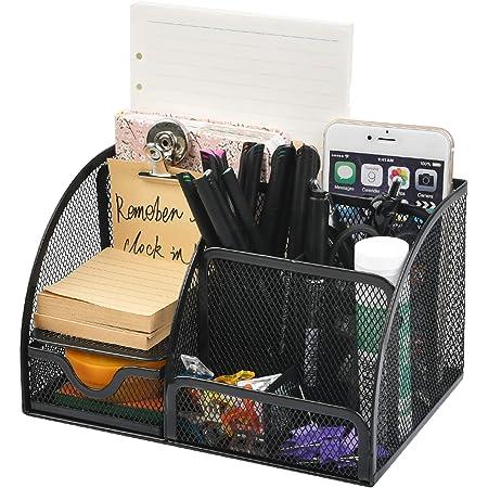 QLOUNI Desk Organiser/Mesh Desk Tidy Candy/Pen Holder/Multifunctional Organiser with 7 Compartments, Multifunctional Stationery Storage Desktop Organiser Pen Holder with Drawer