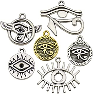 WOCRAFT 100g (42pcs) Wholesale Bulk Lots Eye of Horus Charms for Jewelry Making Mixed Smooth Tibetan Silver Metal Charms Pendants DIY for Jewelry Making Necklace Bracelet and Crafting (M365)
