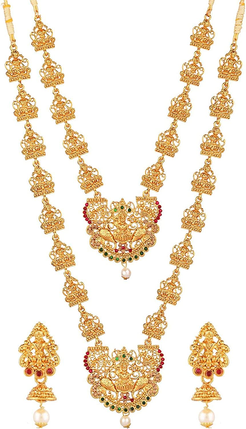 Efulgenz Indian Jewelry Bollywood Traditional Crystal Choker Necklaces Earrings Wedding Jewelry Set for Women