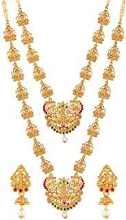Efulgenz Indian Jewelry Traditional Choker Necklaces (Set of 2) Earrings Goddess Lakshmi Wedding Jewelry Set for Women