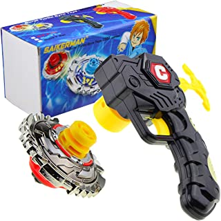 SaikerMan Metal Burst Battling Turbo Top and Launcher Toy for Age 8+ – Black Set