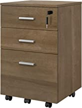 DEVAISE 3 Drawer Mobile File Cabinet with Lock, Wood Filing Cabinet, Fully Assembled Except Casters and Handles, Gray Oak